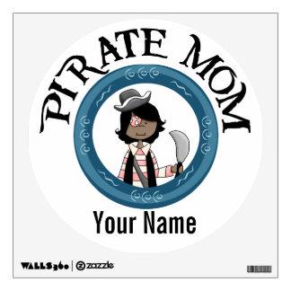 Mamá afroamericana adaptable del pirata vinilo decorativo
