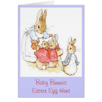 Mama and Baby Bunnies Easter Egg Hunt Vintage Cards