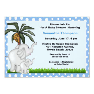 Mama and Baby Elephant Baby Shower Invitations