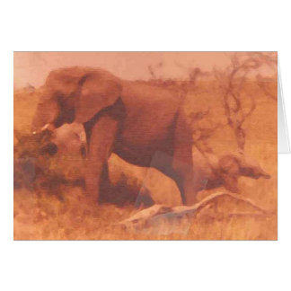 Mama And Baby Elephant Stationery Note Card