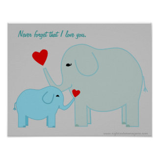 Mama and Baby Elephant in Blues Poster