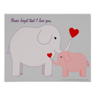Mama and Baby Elephant in Pink and Purple Poster