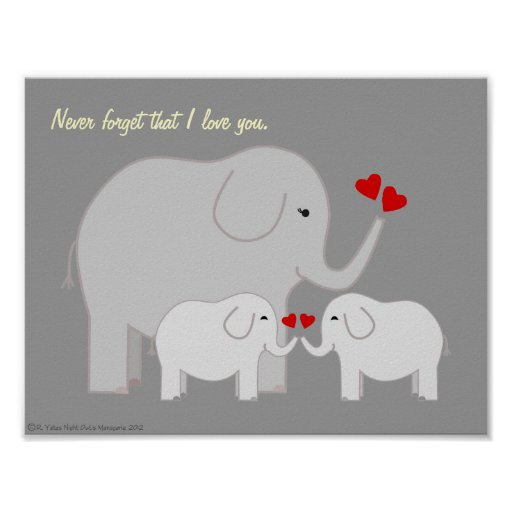 Mama and Baby Elephants Grays Poster