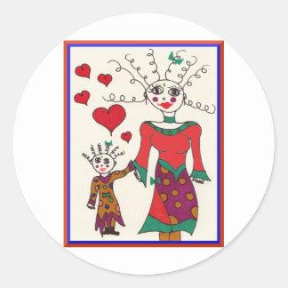 Mama and Baby Elf Love Classic Round Sticker