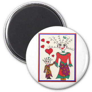 Mama and Baby Elf Love 2 Inch Round Magnet