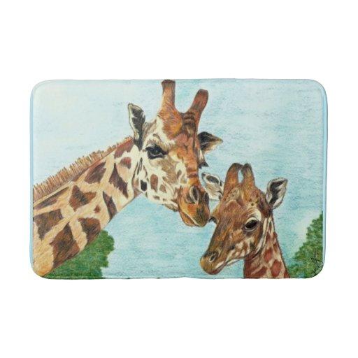 Mama And Baby Giraffe Bath Mat Zazzle