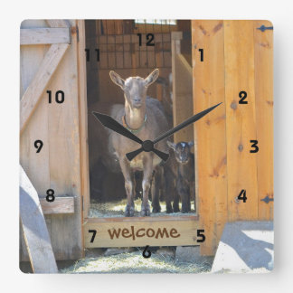 Mama and Baby Goat Welcome Wall Clock