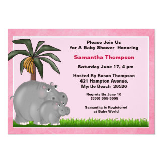 Mama and Baby Hippo Baby Shower Invitations