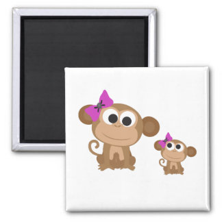 Mama and baby monkey 2 inch square magnet