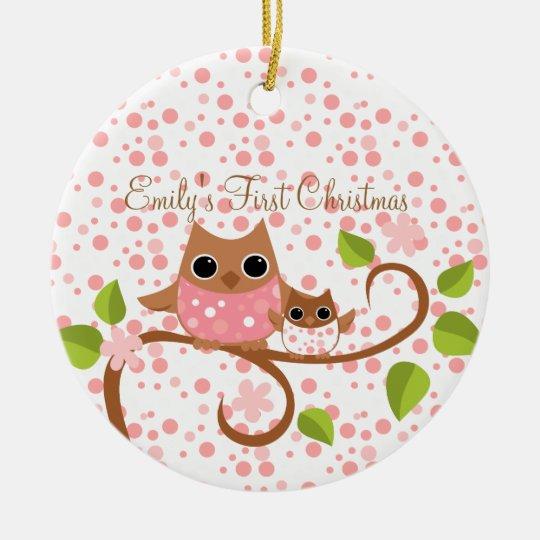 Mama and Baby Owl Ceramic Ornament