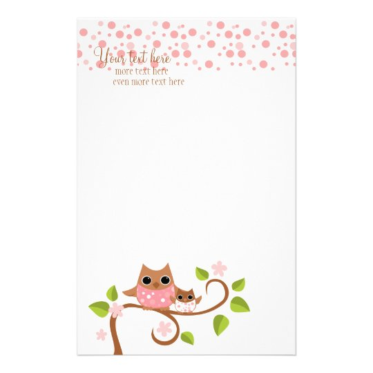 Mama and Baby Owl Stationery