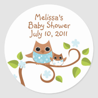 Mama and Baby Owls Classic Round Sticker