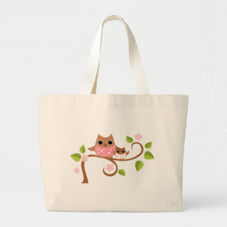 Mama and Baby Owls Large Tote Bag