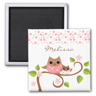 Mama and Baby Owls 2 Inch Square Magnet