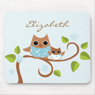 Mama and Baby Owls Mouse Pad