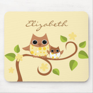 Mama and Baby Owls Mouse Pads