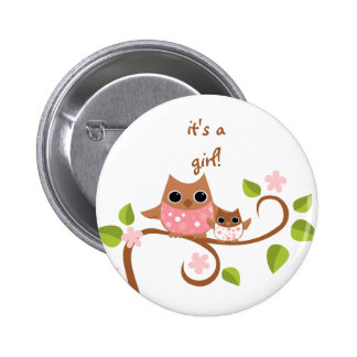 Mama and Baby Owls Pinback Button