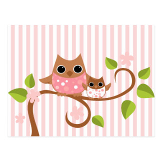 Mama and Baby Owls Post Cards