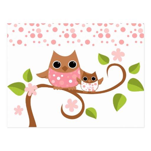 Mama and Baby Owls Postcard