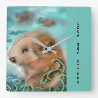 """Mama and Baby Sea Otter"" Square Wall Clock"