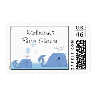 Mama and Baby Whale Baby Shower  Postage Stamp