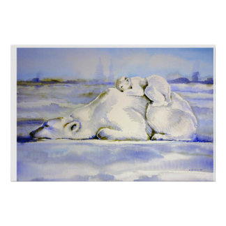 Mama and Cub Polar Bear Watercolor Poster