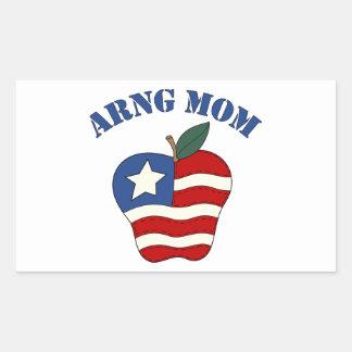 Mamá Apple patriótico de ARNG Pegatina Rectangular