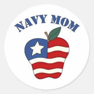 Mamá Apple patriótico de la marina de guerra Pegatina Redonda