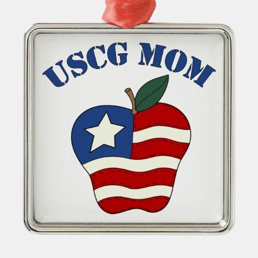 Mamá Apple patriótico de USCG Adorno Para Reyes