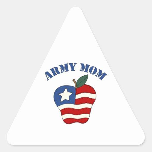 Mamá Apple patriótico del ejército Pegatina De Triangulo