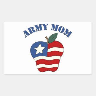 Mamá Apple patriótico del ejército Pegatina Rectangular