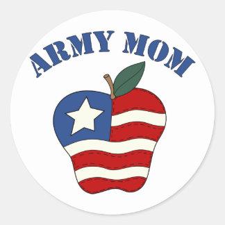 Mamá Apple patriótico del ejército Pegatina Redonda