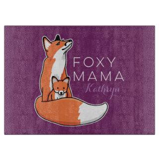Mamá astuta Fox rojo con el perrito, personalizado Tablas De Cortar