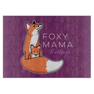 Mamá astuta Fox rojo con el perrito, personalizado Tabla De Cortar