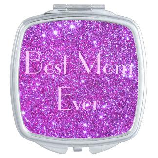 Mamá atractiva del espejo 2 brillantes cosméticos espejos compactos