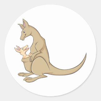 Mamá australiana Kangaroo y bebé Joey Pegatina Redonda