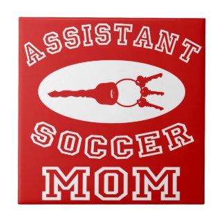 Mamá auxiliar del fútbol (letras blancas) azulejo cerámica