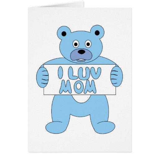 Mamá azul del oso I Luv del dibujo animado (mamá Tarjeta Pequeña