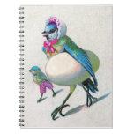 Mamá azul del pájaro libros de apuntes con espiral