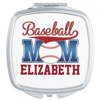 Mamá azul/roja de encargo del béisbol espejos de viaje