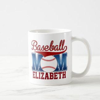 Mamá azul/roja de encargo del béisbol taza clásica