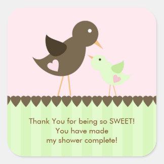 Mama & Baby Bird Baby Shower Sticker