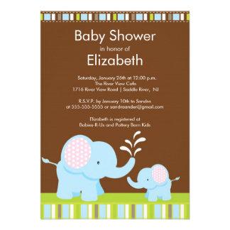 Mama & Baby Elephant Baby Shower Boy or Girl Invitation