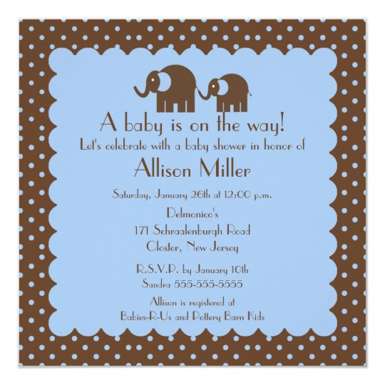 Mama & Baby Elephant Boy Baby Shower Card
