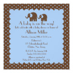 Mama & Baby Elephant Boy Baby Shower 5.25x5.25 Square Paper Invitation Card