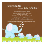Mama & Baby Elephants Triplets Baby Shower 5.25x5.25 Square Paper Invitation Card