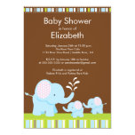 Mama & Baby Elephants Twins Baby Shower Boy Girl 5x7 Paper Invitation Card