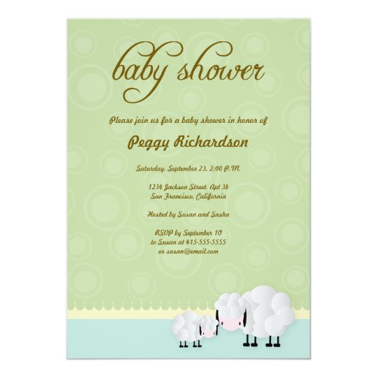 Mama & Baby Sheep Baby Shower Invite: Green Card