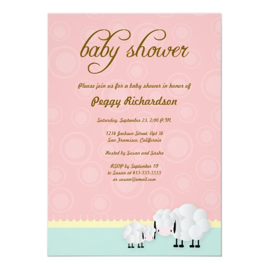 Mama & Baby Sheep Baby Shower Invite: Pink Card