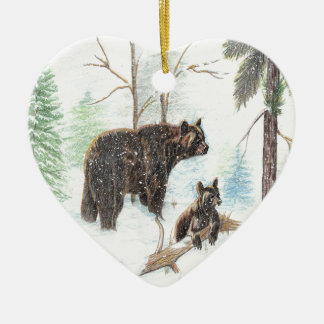 Mama Bear and Baby Ceramic Ornament